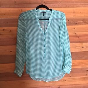 DAISY FUENTES sheer gingham blouse